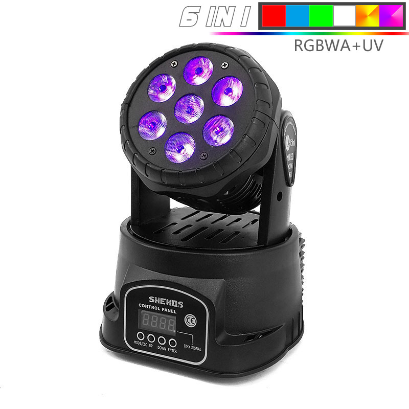 Sell Well Best  Mini LED Wash 7x12/18W RGBW Moving Head Stage Lighting DMX 512 Controller For Events Show DJs Band Lights
