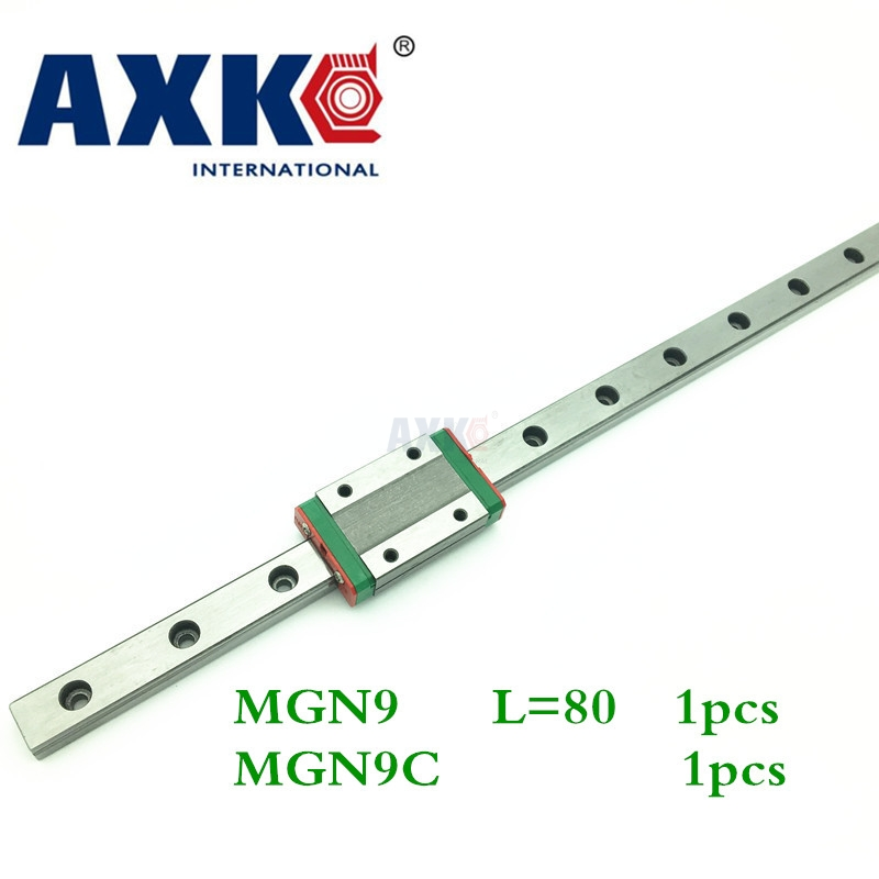 2018 Promotion Linear Rail Axk Cnc Router Parts 1pc 9mm Width Linear Guide Rail 80mm Mgn9 + Mgn Mgn9c Blocks Carriage For Cnc 3d print parts cnc mgn7c mgn12c mgn15c mgn9c mini linear rail guide 1pc mgn linear rail guide 1pc mgn slider