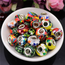 10pcs Mixed Color Fimo Clay Color 5mm Hole Round Plastic Resin Spacer Beads Charms fit for Pandora Bracelet DIY Jewelry Making