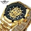 WINNER новые модные механические часы для мужчин череп дизайн лучший бренд класса люкс Золотой Нержавеющая сталь ремешок Скелет Человек Авто ...