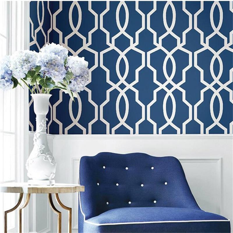 Beibehang Modern 3D Wallpaper Study Living Room Bedroom Nonwovens Blue Green Grid Window Geometric Lines Background Wallpaper beibehang nonwovens healthy fashion