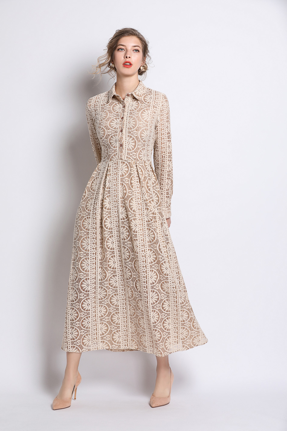Long Summer Khaki Hollow Out Lace Dress 6