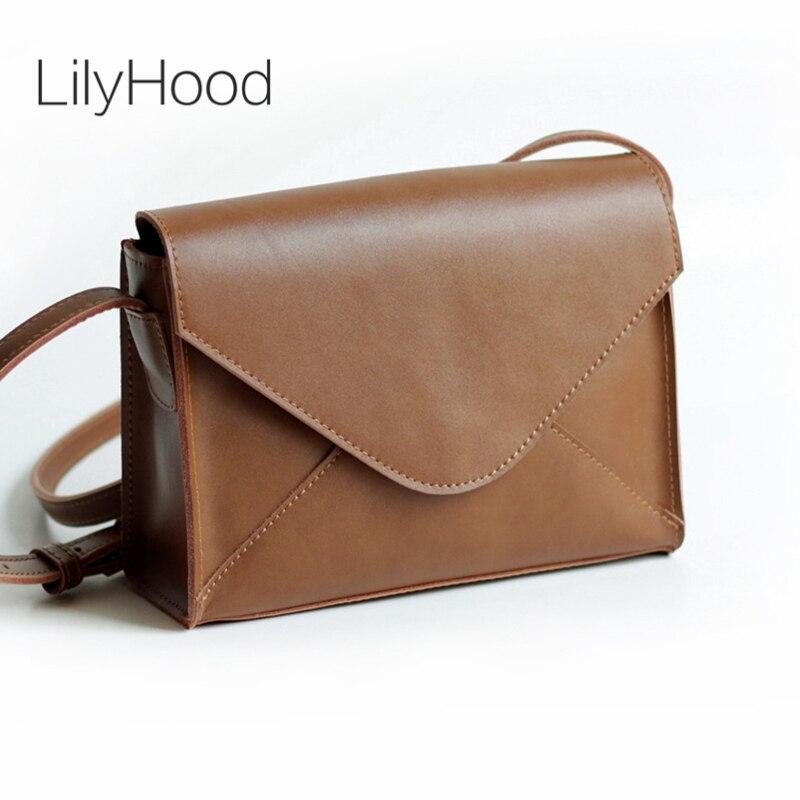LilyHood Women Genuine Leather Letter Flap Flap Shoulder Bag Vintage Fashion Retro Leisure Casual mall Mini Brown Crossbody Bag