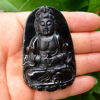Beautiful Black Guan yin natural cargo tablets Pendant Mexican
