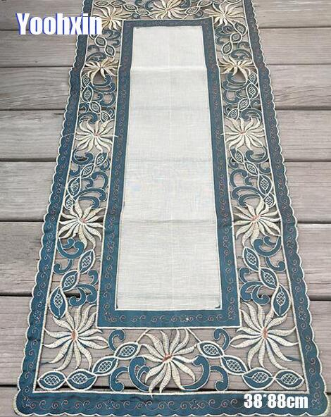 Modern green satin Embroidery bed Table Runner flag cloth cover dining Lace tea coffee tablecloth party Christmas Wedding decor