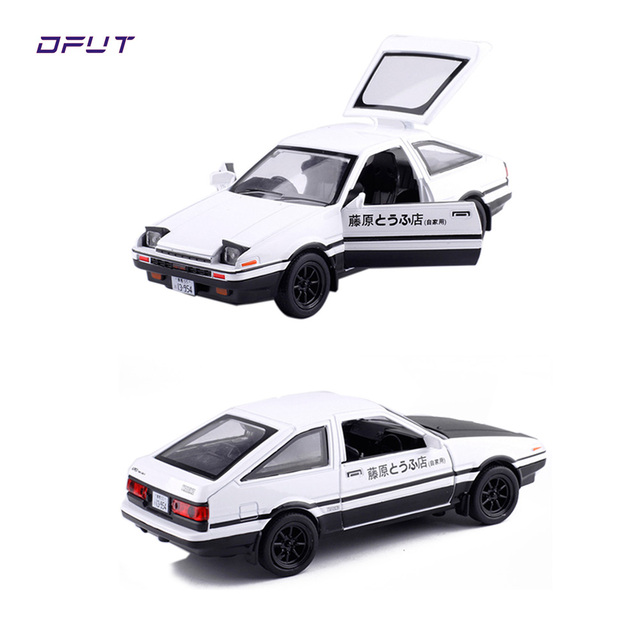 Toyota AE86 1:28 Alloy Car Model INITIAL D Anime Cartoon Fast Furious With Pull Back Sound Light For Boy gift Toys Free Shipping