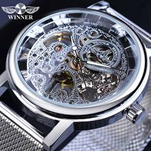 Winner 2019 New Arrival Men Mechanical Watch Mesh Band Stainless Steel Analog Wristwatch Minimalist Business Luxury Silver Clock все цены