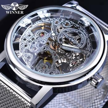 Winner 2019 New Arrival Men Mechanical Watch Mesh Band Stainless Steel Analog Wristwatch Minimalist Business Luxury Silver Clock