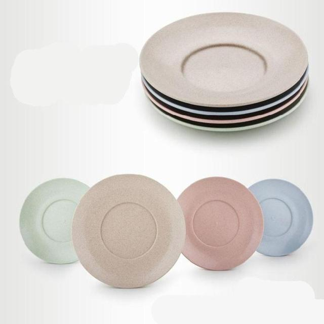 4pcs Wheat Straw Healthy Children Plates and Unbreakable Dinner Plate Tableware Dish for Kids Round & 4pcs Wheat Straw Healthy Children Plates and Unbreakable Dinner ...