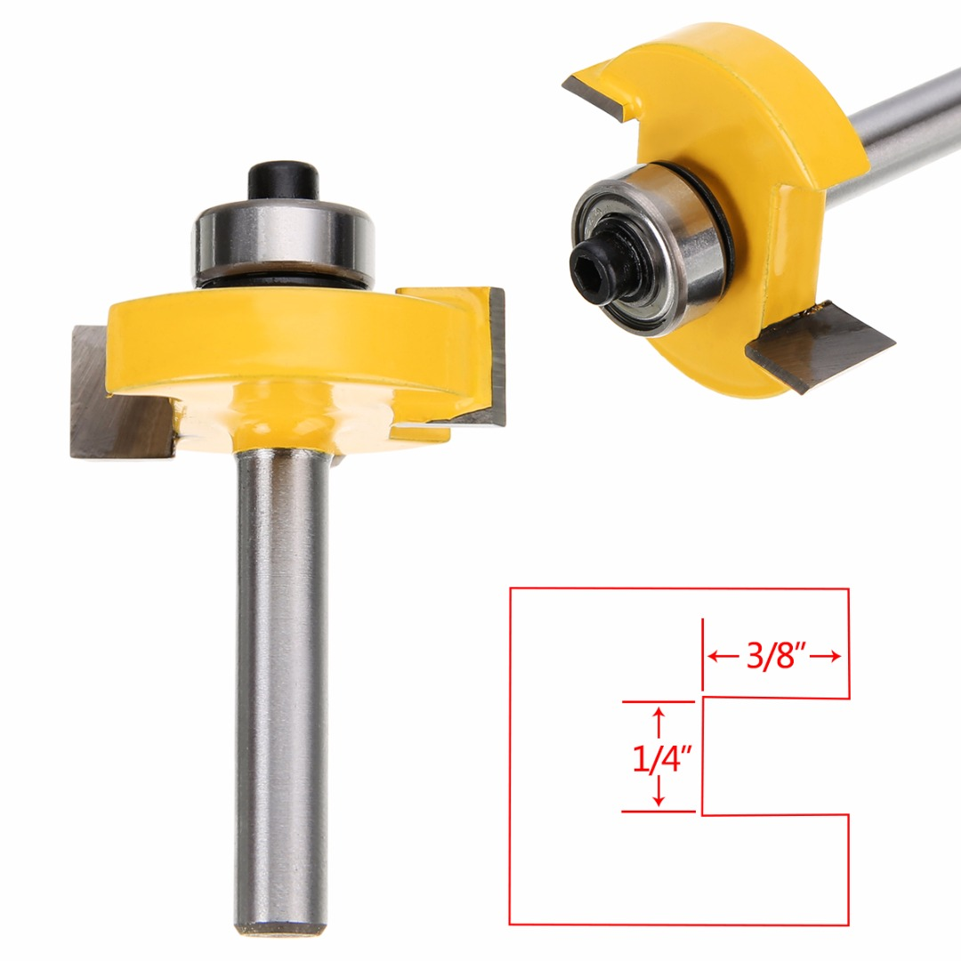 1pc Router Bit T-slot Slotting & Rabbeting  Woodworking Cutter 1/4 x 3/8 Mayitr For Power Tool high grade carbide alloy 1 2 shank 2 1 4 dia bottom cleaning router bit woodworking milling cutter for mdf wood 55mm mayitr