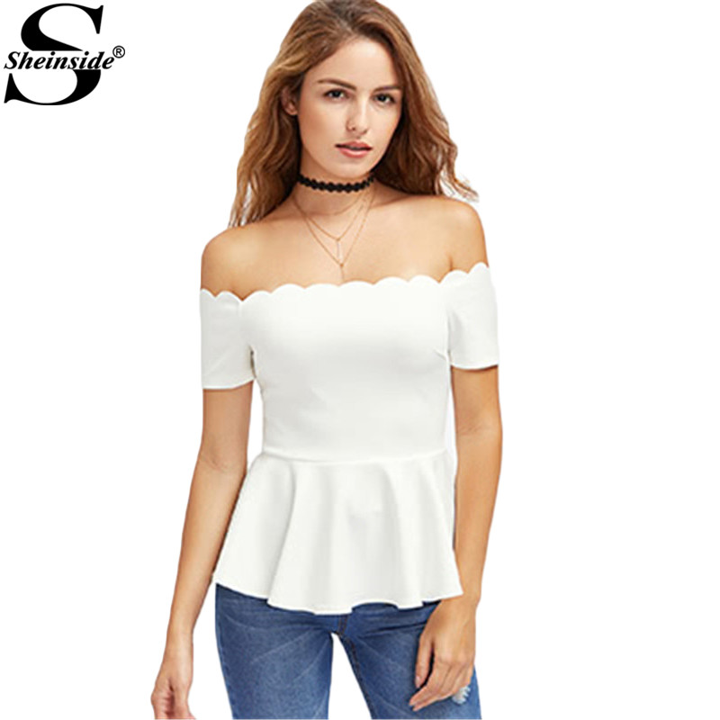 b3c1af23ecac39 Sheinside White Elegant Peplum Tops 2017 Scalloped Off Shoulder Blouse Women  Sexy Summer Tops Ruffle Zip Back Bardot Neck Blouse