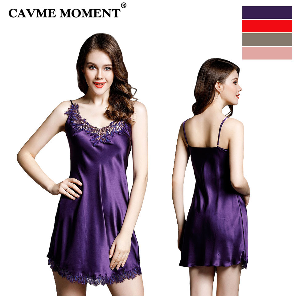 CAVME 2019 Summer Plus Size Lace   Nightgowns   Ladies Silk   Sleepshirts   Sexy Mini Spaghetti Strap Sleepwear Elegant Homewear