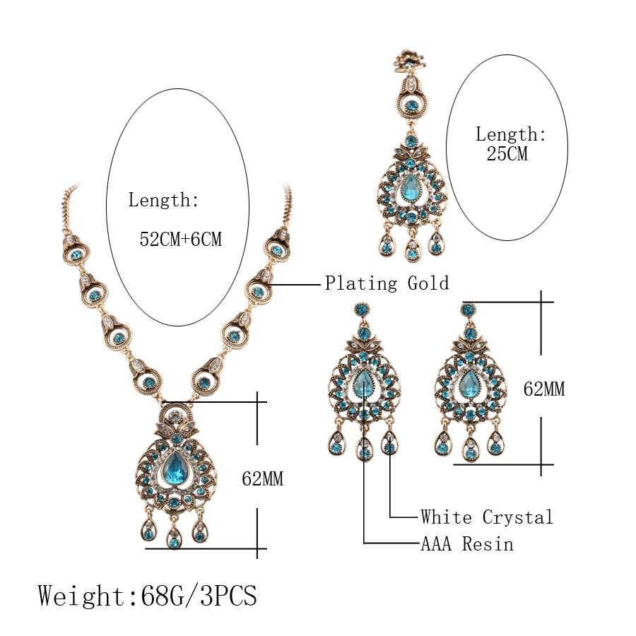 Charm India Vintage Look Set Perhiasan Liontin Kalung Anting-anting - Perhiasan fesyen - Foto 2