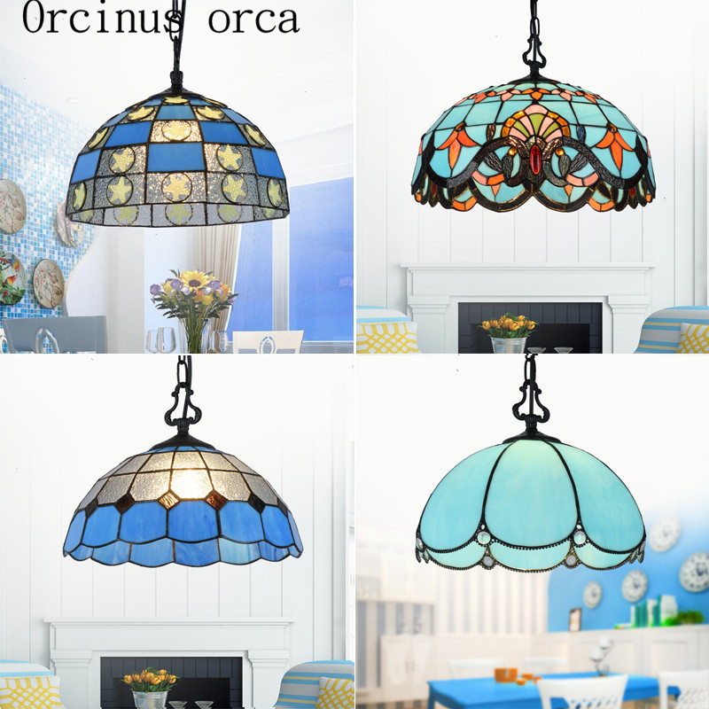 Mediterranean Style Color Hanging Chandelier Restaurant Bar Entrance Cafe European Style Glass Chandelier Free Shipping