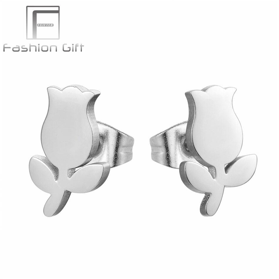 FGifter Beautiful Rose Flower Earrings for Women Girls Gifts Silver Color Stud Earrings Stainless Steel Jewelry