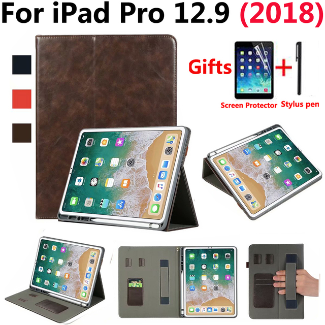 designer fashion b0fce c3dc7 US $21.41 20% OFF|Premium Leather Case for Apple iPad Pro 12.9 2018 Case  Pencil Holder Sleep Wake Smart Cover for New iPad Pro 12.9 inch  +Film+Pen-in ...