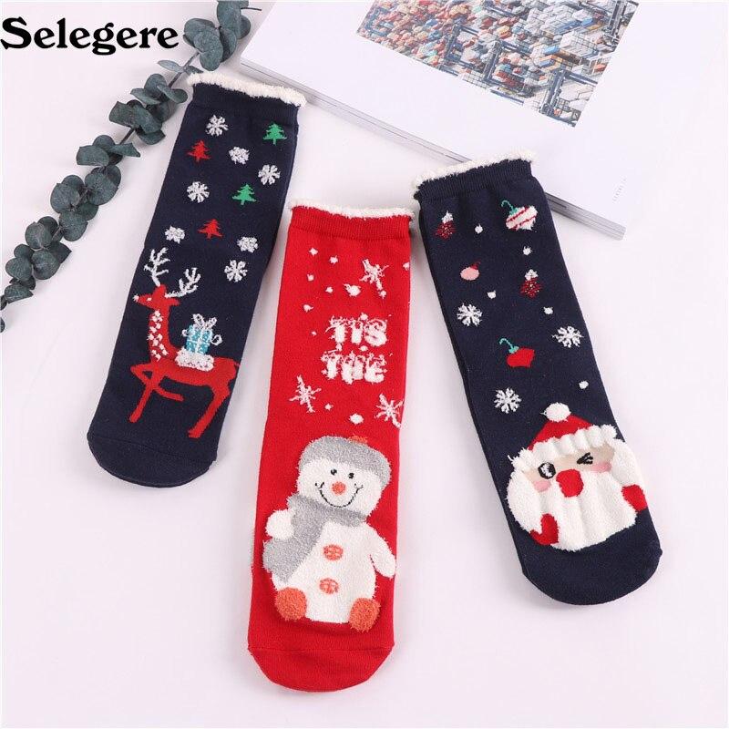 120Pair/lot 2018 Autumn and winter new Christmas stocks cartoon elk cute women's red socks Good quality