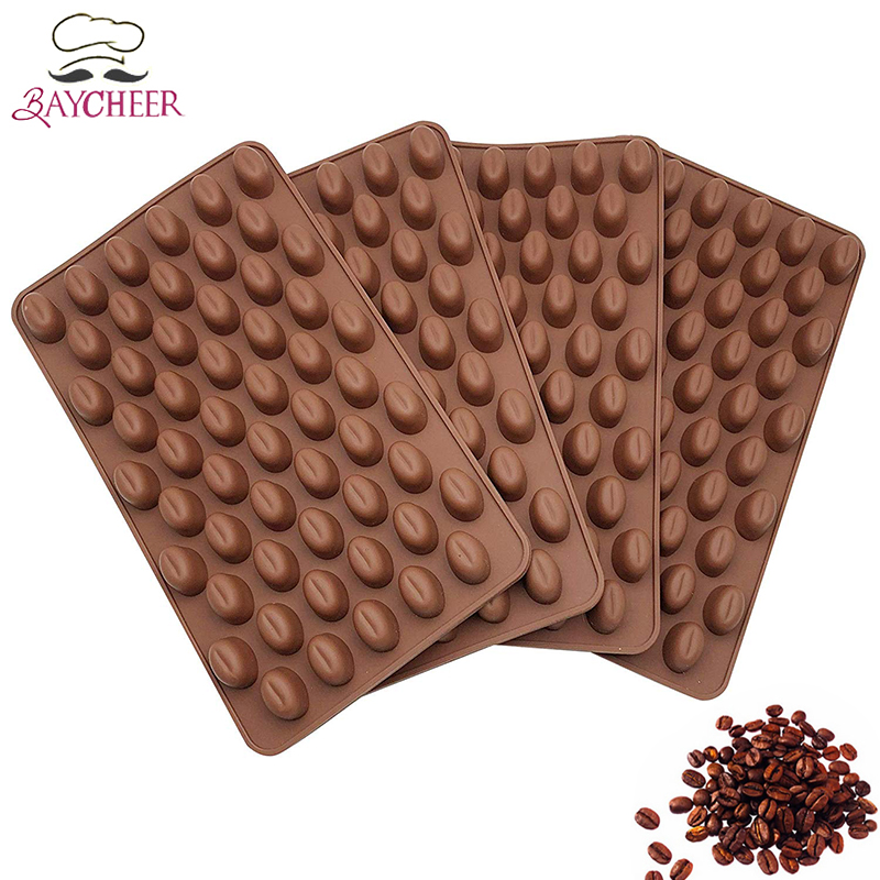 BAYCHEER Mini Coffee Beans Shaped Chocolate Mould 55 Cavities Silicone Sugar Candy Sweets Baking Tool Cake Decorating Tools image