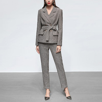 2019 Spring Autumn Fashion Twin Sets Women's Striped Double Breasted Jacket Slim Pants Office Lady Outfits Two Pieces Sets Suits