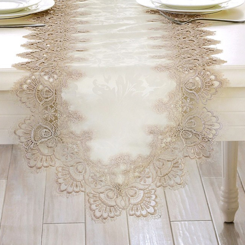 White Embroidery Table Runner Elegant Lace Tableware for Dining Room Restaurant Cafe Wedding Party Event Catering Decoration P5 ...