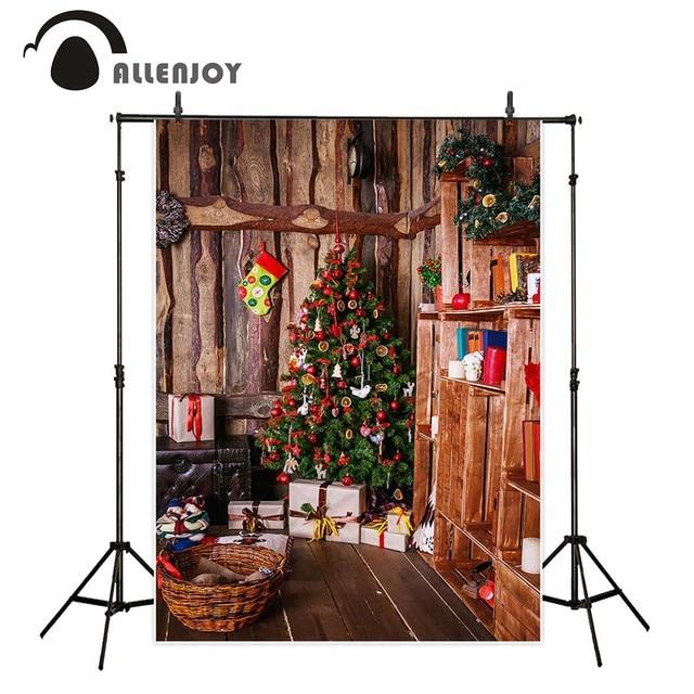 Allenjoy Background For Photo Christmas Wood House Tree Bookshelf Kids Professional Backdrop Newborn Photobooth Photocall