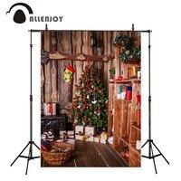 Allenjoy fundo para a foto árvore de Natal casa de madeira estante crianças profissional backdrop-nascidos photobooth photocall