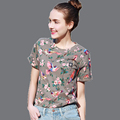 MIUK Women Summer Cotton Slim Casual Fashion Girls Print Floral Bird O-neck Women Tshirt Femme