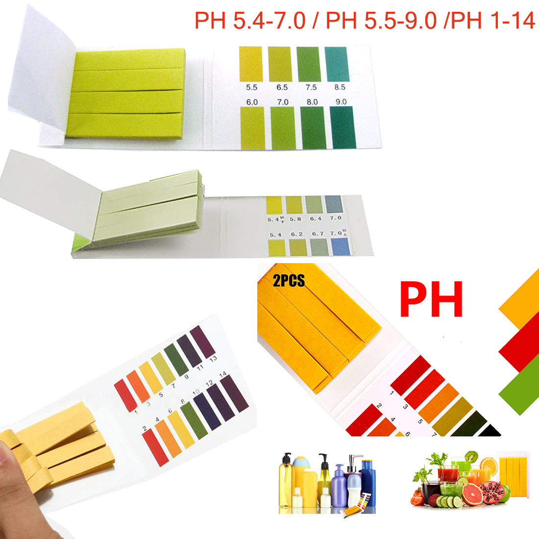 PH 5.4-7.0,PH 5.5-9.0,PH 1 -14  Alkaline Test Papers Strips Indicator Lab Supplies Litmus Testing Kit For Plant,Water 80 Strips