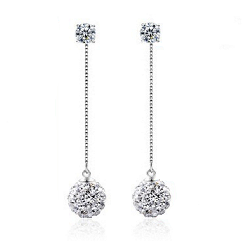 silver plated Super flash Shambhala Rhinestone tassel earrings long section of female fashion jewelry simple eardrop 65MM