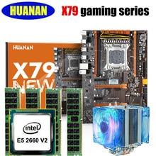 Placa base + CPU + RAM + cooler conjunto HUANAN deluxe X79 juegos motherboard Xeon E5 2660 V2 RAM 32G (4*8G) 2 heatpipes refrigerador libre de ruido