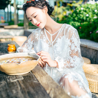 Sexy Lace Dress Big Size Long Sleeve Patchwork Chiffon Casual Beach Dress Wedding Elbise Cover Up