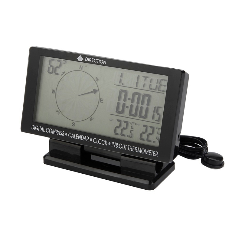 Universal 4.6 Car Digital Compass with Clock Thermometer Calendar Blue Backlight LCD Display