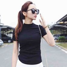 Fashion Women Half High Collar Tshirt Solid Color Summer Loose Short Sleeve Tee T Shirts Tops Casual T-Shirt Simple Wild Tops