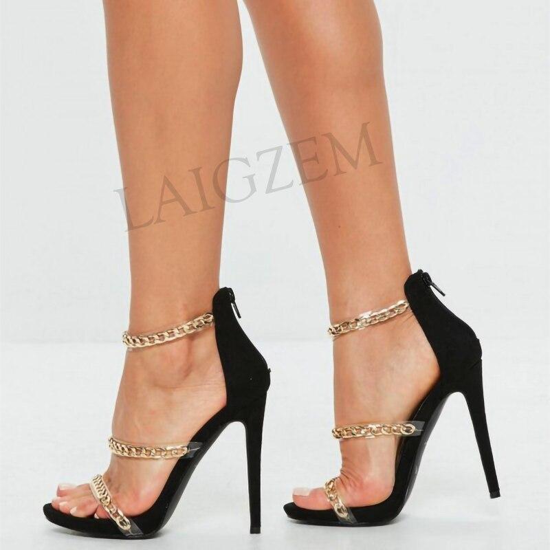 LAIGZEM Trendy Women Sandals Metal Chain Clear Straps Party Heels Sandalias Mujer Chaussure Sapato Feminino Big Size 34 52