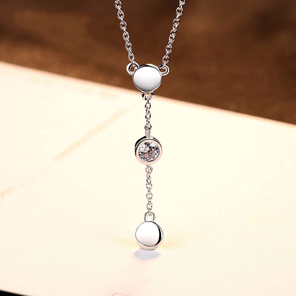 DR Brand Necklace 925 Sterling Silver Link Chain Necklace Choker Collar Tiny Cubic Zircon Necklace Pendants Women Jewelry in Necklaces from Jewelry Accessories