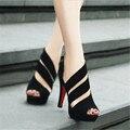O envio gratuito de 2015 noite de verão sapatas das mulheres zíperes laterais com documentários sapatos de boca de Peixe à prova d' água Taiwan alta maré