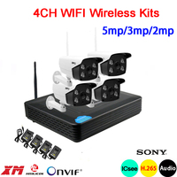5mp/3mp/2mp White 6pcs Array Led Waterproof Two way Audio H.265+ 25fps 4CH 4 Channel WIFI Wireless IP Camera kits Free Shipping
