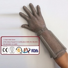 Chain Mail Gloves Passed CE Certification Ring mesh Gloves Metal Gloves Cut Proof Safety Gloves 5 Levels 20CM Long