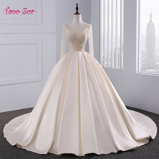 Taoozor Luxurious Light Champagne Satin Ball Gown Wedding Dress Bling Beaded Bodice Y Tulle Neckline Vestidos