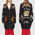 Eupropean suéter Hecho Punto de las mujeres 2016 otoño invierno famosa marca mediados de larga tops cardigans tigre bordado floral de punto de lujo
