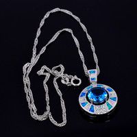 New Arrival Trendy Silver Necklace Pendants Blue Fire Opal for Ladies biggest Surprise Party Gift for Women PJ16011705 3