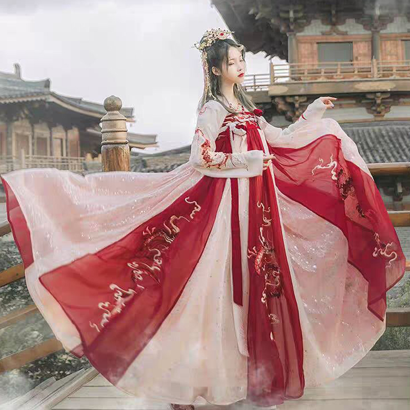 2019 New Red Hanfu For Women Chinese Top+Skirt Dress Cosplay Han Ancient People Performance Swing Dancer Stage Costume BL1550