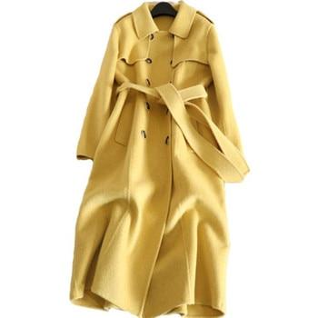 2018 new double cashmere woolen coat female long wool coat