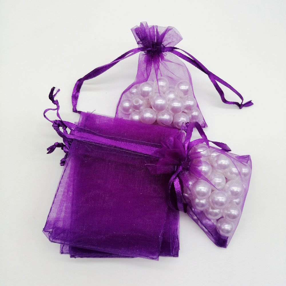 Image 5 - 500pcs Organza Bags Dark Purple Organza Gift Bags For Jewelry Packaging Display Christmas Wedding Jewelry Storage Drawstring Bag-in Jewelry Packaging & Display from Jewelry & Accessories