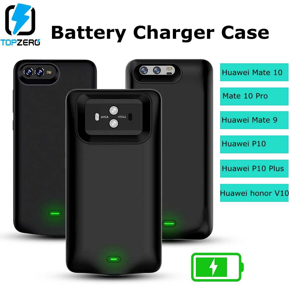 TOPZERO Power Case For Huawei Mate 9 10 Pro Battery Charger Case For Huawei honor V10 P10 Plus Soft Silicone Battery Funda Case