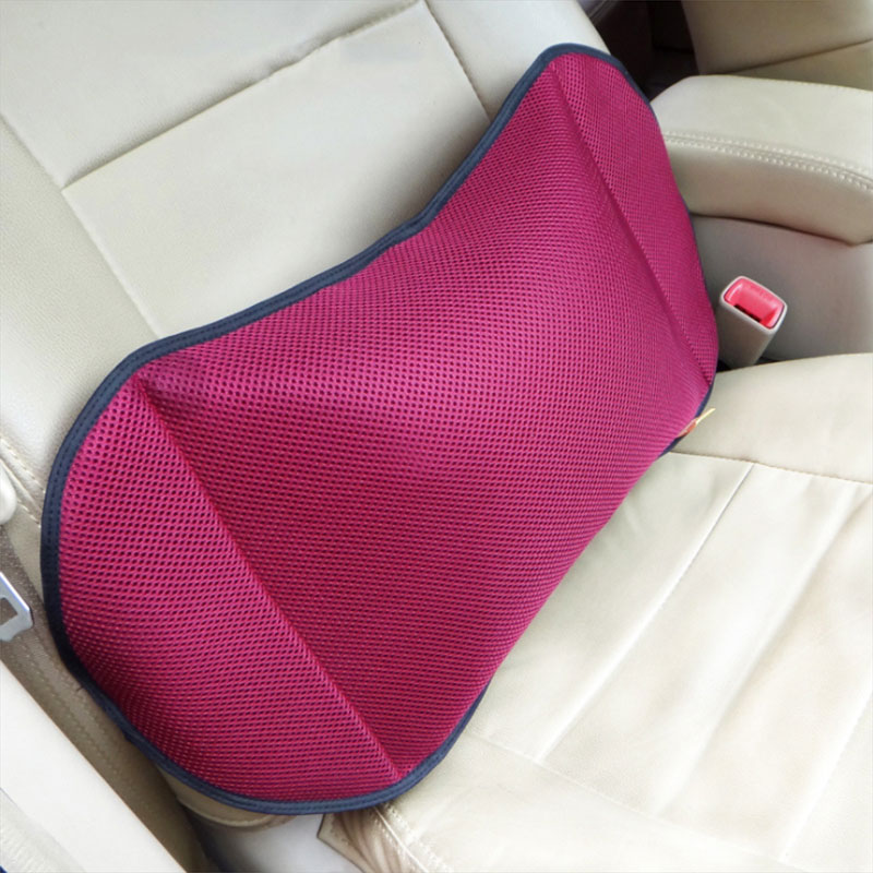 O SHI CAR Cushions Lumbar Support for Car Home Office Chair Portable Pillow with Pump Black Removable Mesh Massage Pillows
