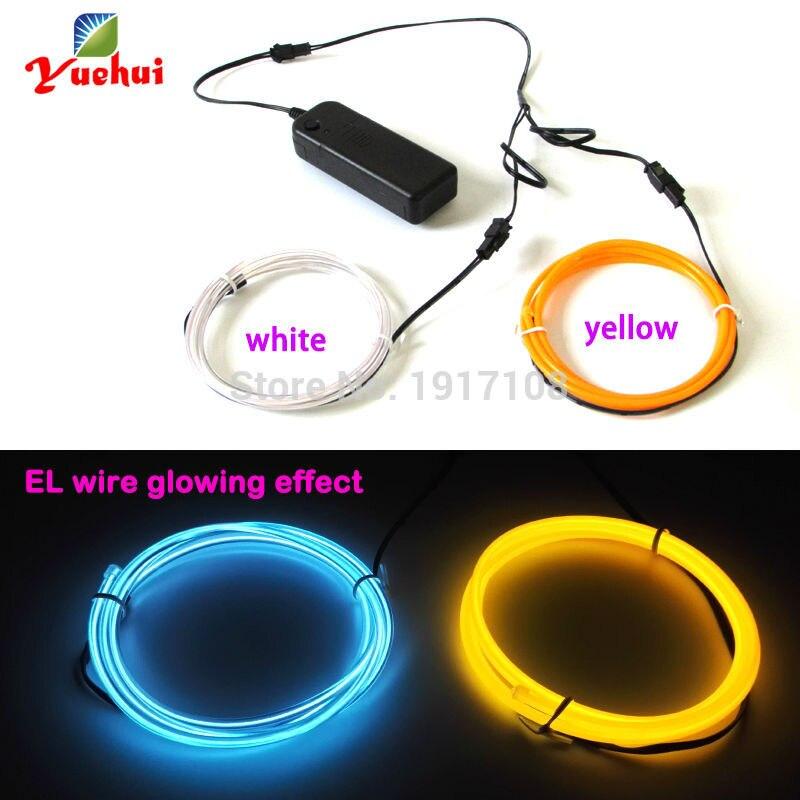 1M Custom 2pieces color 3.2mm Flexible EL Wire Rope Tube Neon ...