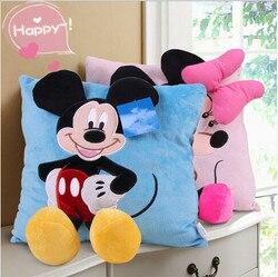 1 Uds. 35cm 3D Mickey Mouse y Minnie Mouse almohada de felpa Kawaii Mickey y Minnie Soft Cusion regalos para niños