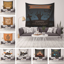 Halloween Tapestry Wall Hanging For Home Decor Bat Pumpkin Skull Printed Wall Tapestry Carpet Holiday Travel Beach Yoga Mat halloween witch printed waterproof wall hanging tapestry