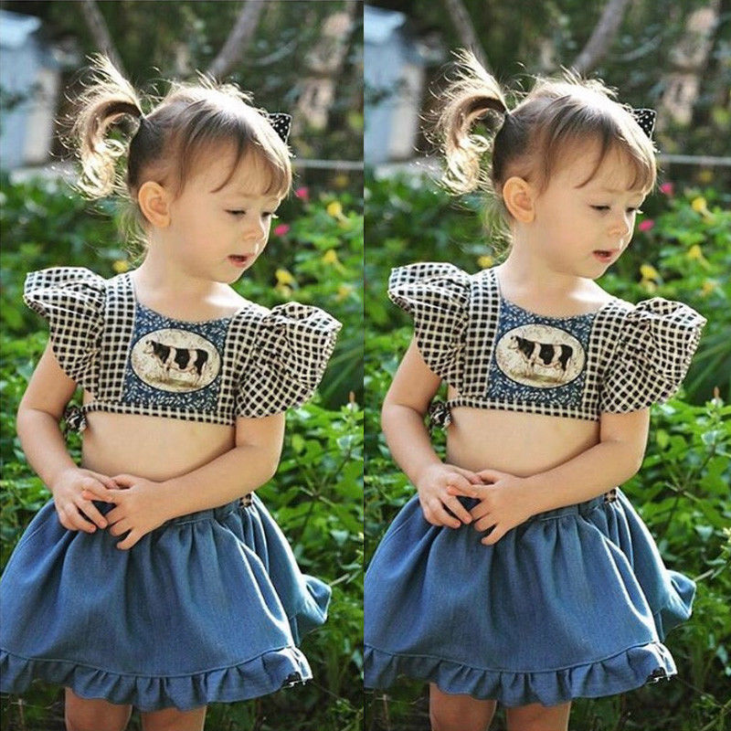 b1969dee3 New Infant Kid Baby Girl Cow Print Crop Top Denim Jeans Pant Dress Party  Clothes Children Set Baby Girl Clothes Cotton Sets
